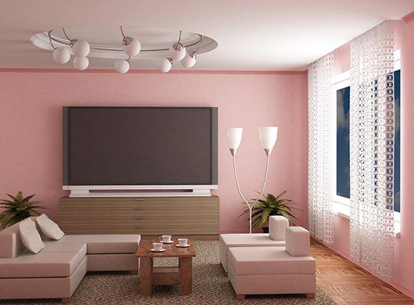 decoração-rosa-claro-tv-prata